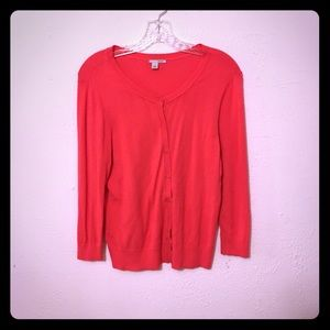 HALOGEN Coral Button Up Long Sleeve Cardigan Large